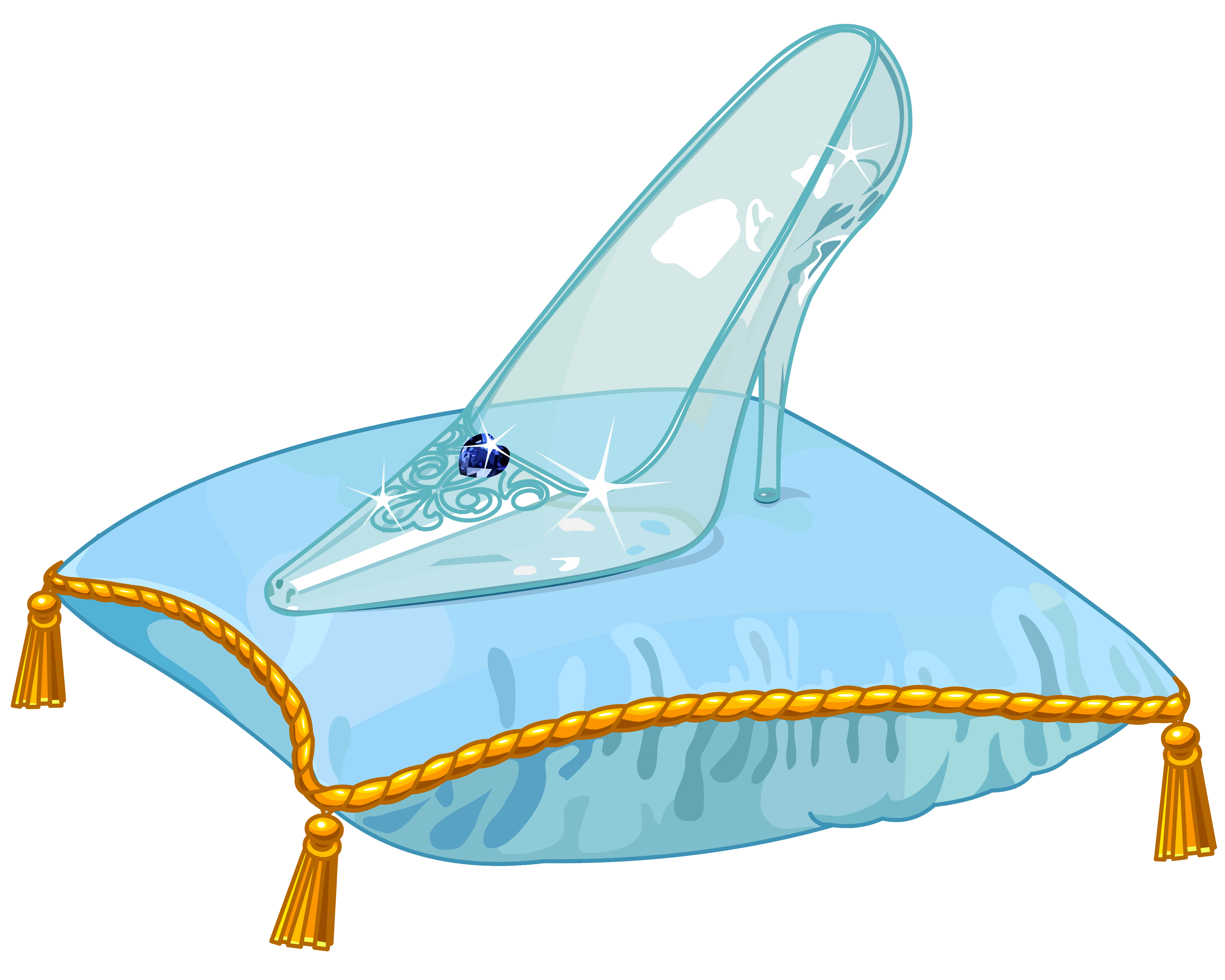 Cinderella Glass Slipper PNG Vector Clipart Image.