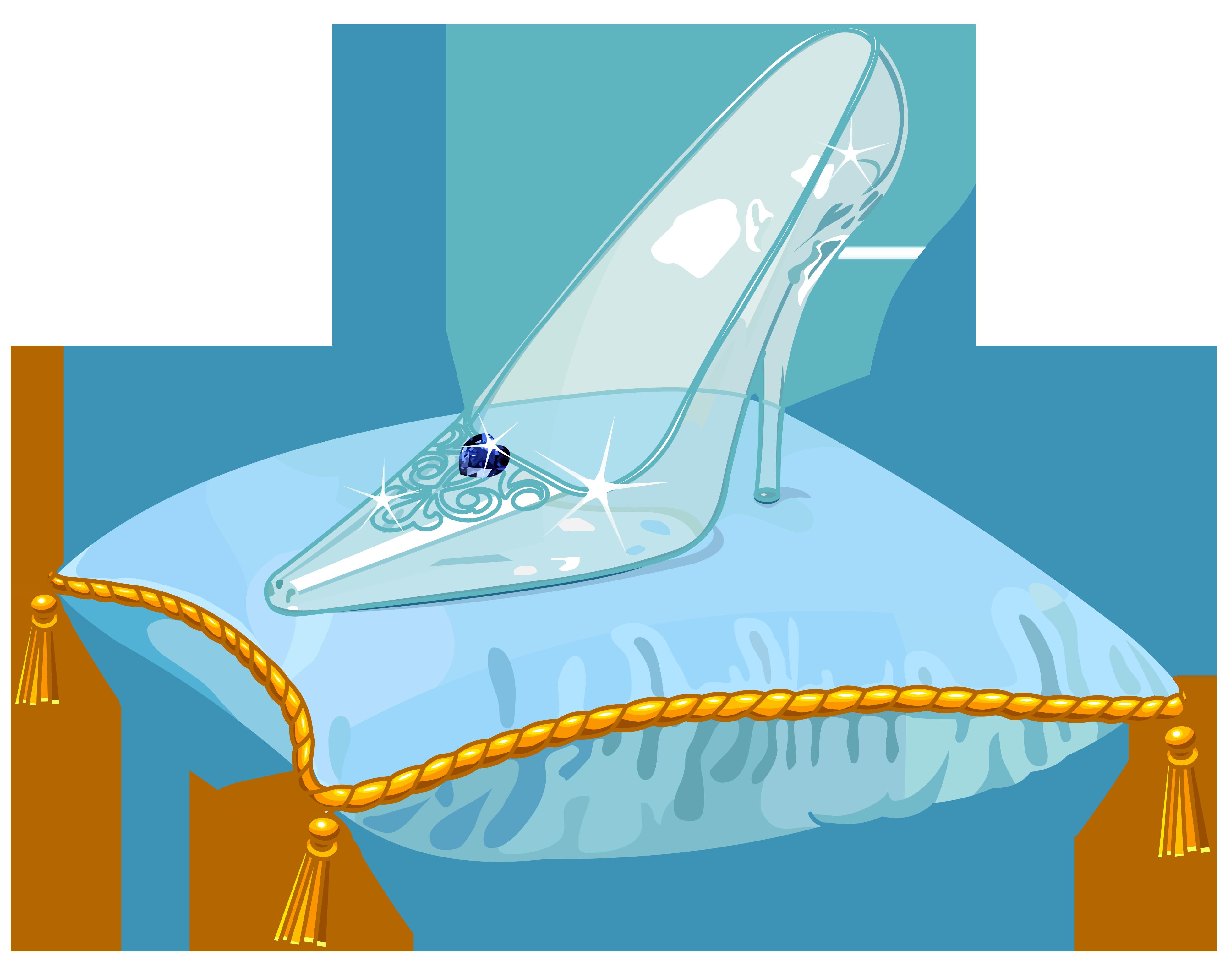 Cinderella Glass Slipper PNG Vector Clipart Image.