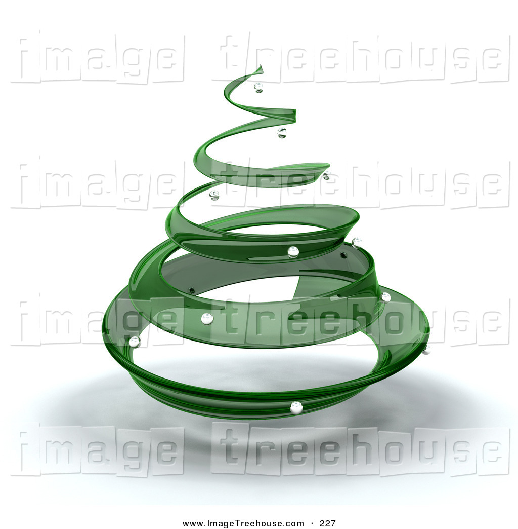 Clipart of a Green Glass Spiral Christmas Tree with Silver.