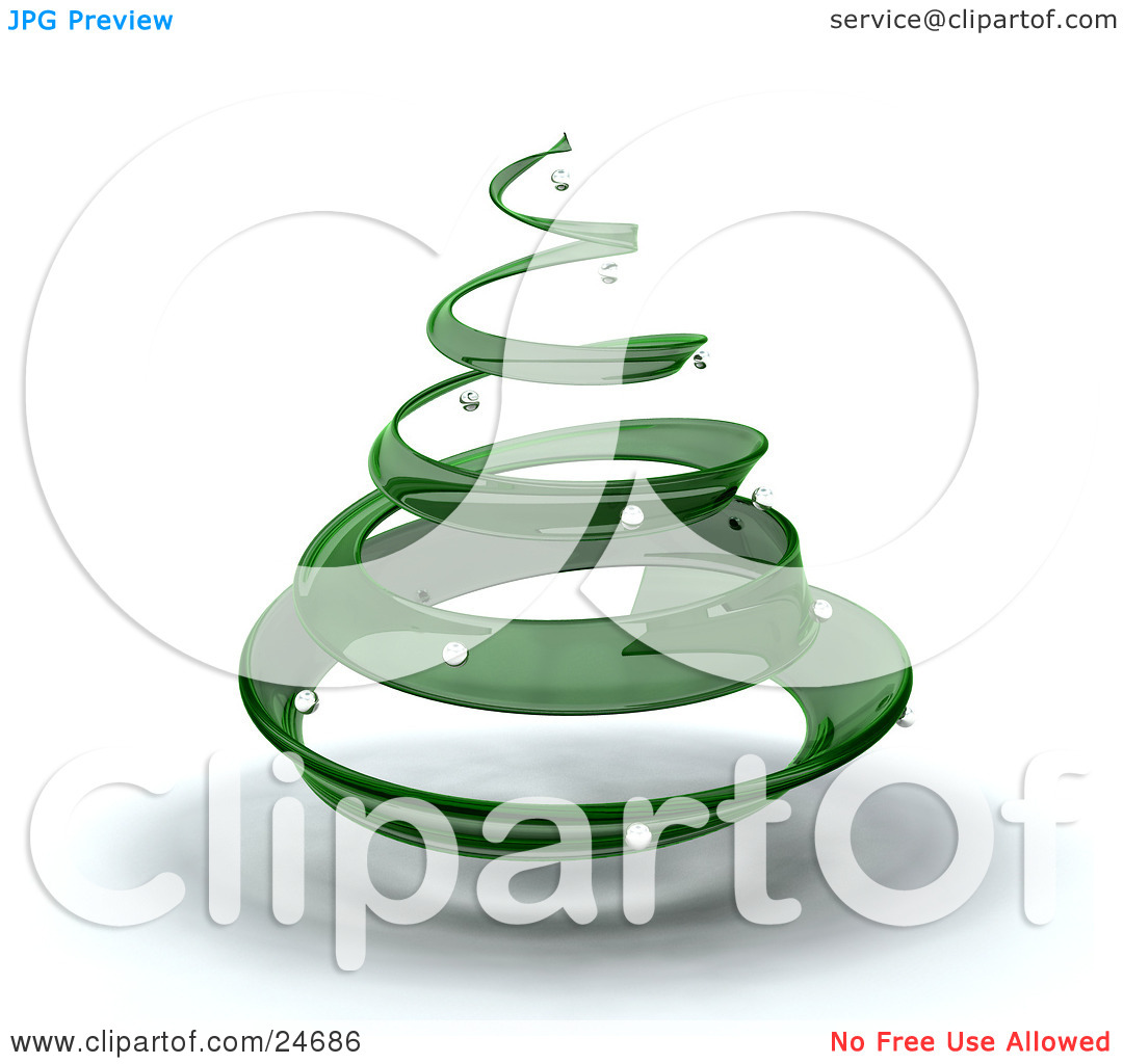 Clipart Illustration of a Green Glass Spiral Christmas Tree With.