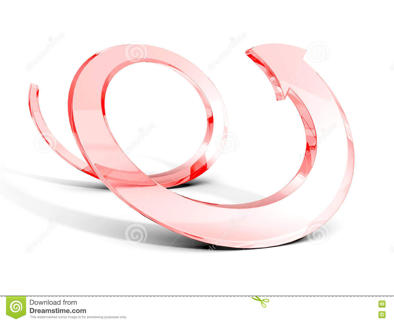 Red Glass Spiral Arrow On White Background Stock Illustration.