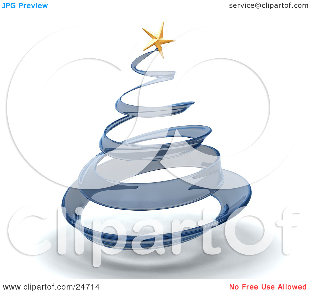 Clipart Illustration of a Blue Glass Spiral Christmas Tree With A.