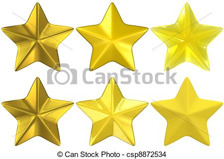 Drawing of star shape gold yellow glass metal clay.
