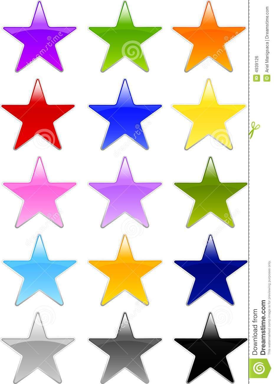 Gel Or Glass Star Shape Buttons Royalty Free Stock Image.