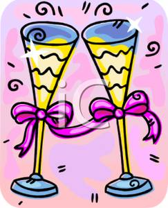 Set Of Champagne Flutes With Ribbons Tied On Their Stems.