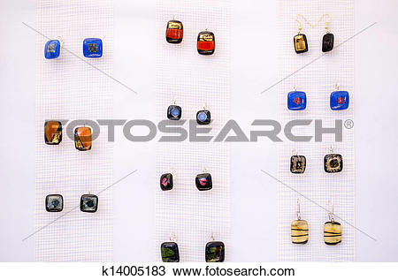 Stock Photo of earrings glass stone jewelery sell market fair.