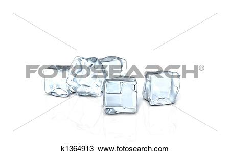 Drawing of an ice cube on a glass surface k1364913.