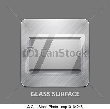 EPS Vector of Metal app button with glass surface.