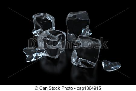 Stock Illustrations of an ice cube on a glass surface.