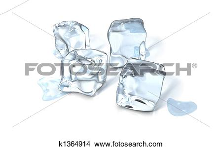 Drawings of an ice cube on a glass surface k1364914.
