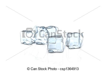 Drawings of an ice cube on a glass surface.