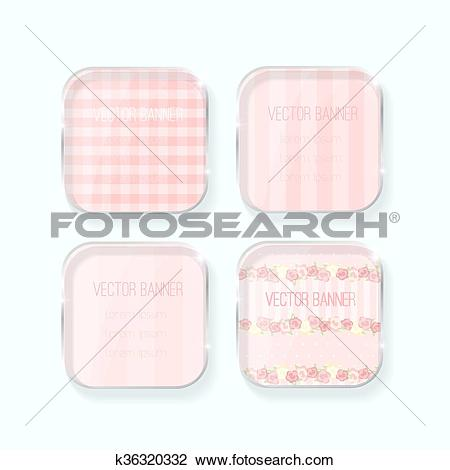 Clipart of Vector banner with a glass surface. Eps k36320332.