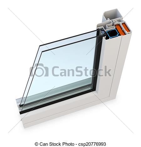 Stock Illustration of 3d cut of window profile with glass surface.