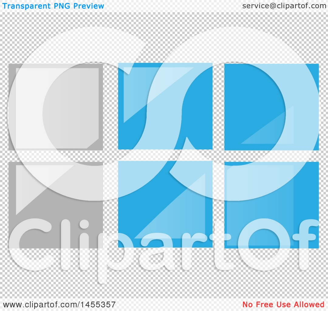 Clipart of a Gray and Blue Glass Tile or Window Design.