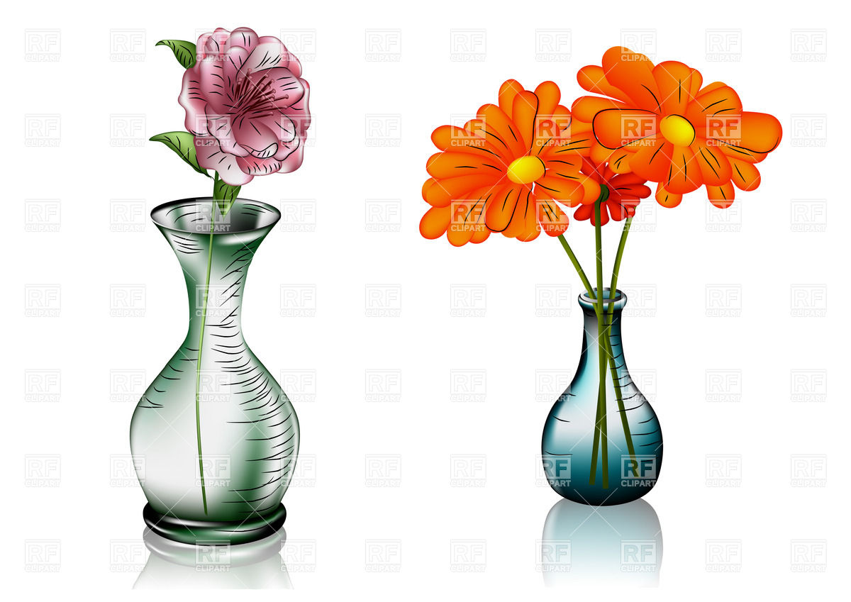 Two glass vases with flowers Vector Image #27591.