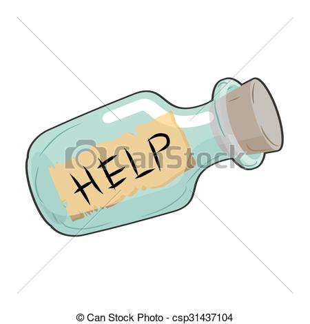 Vector Clipart of Help in bottle. Glass vessel with wooden stopper.