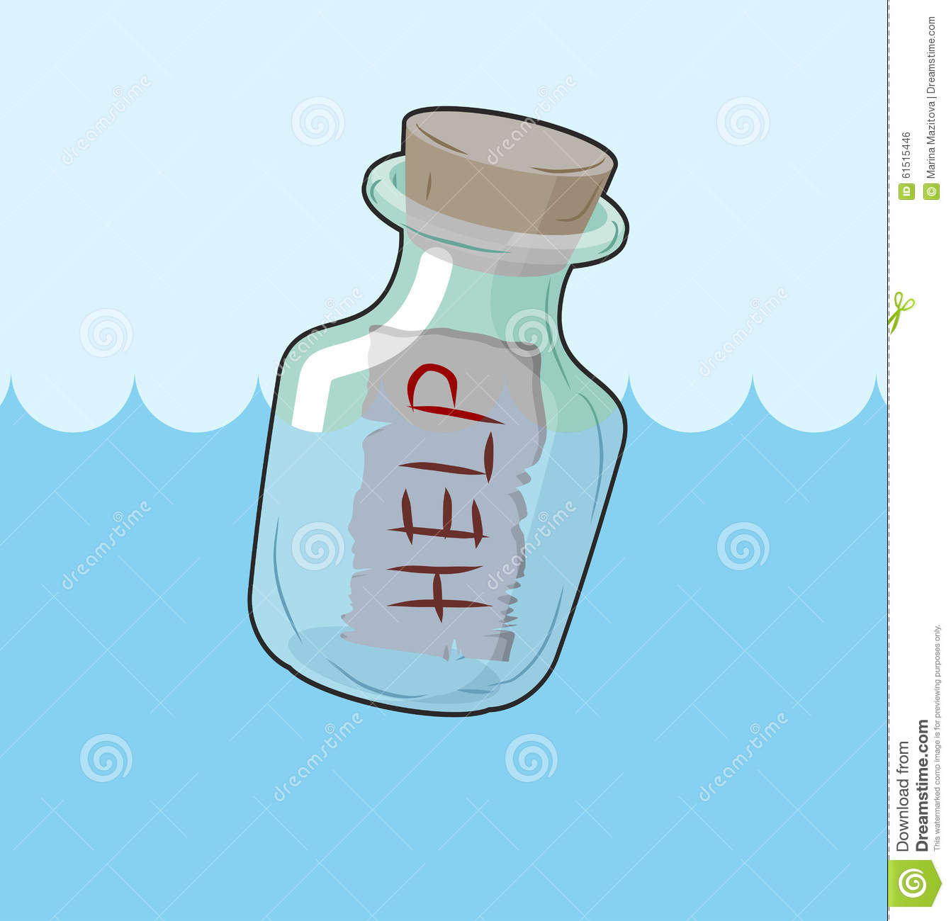 Transparent Bottle With Text Help On Sand. Glass Vessel With.