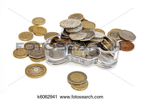 Stock Photography of various coins in a glass vessel k6062941.