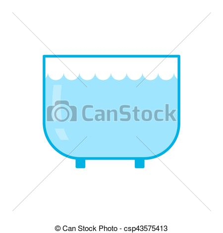 Vector Clip Art of Aquarium empty isolated. Glass vessel with.
