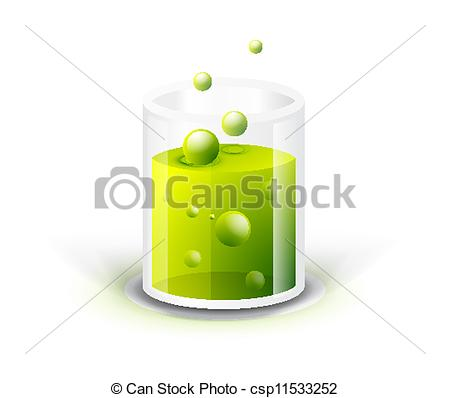 Clipart Vector of Glass vessel with green fluid. Chemistry concept.