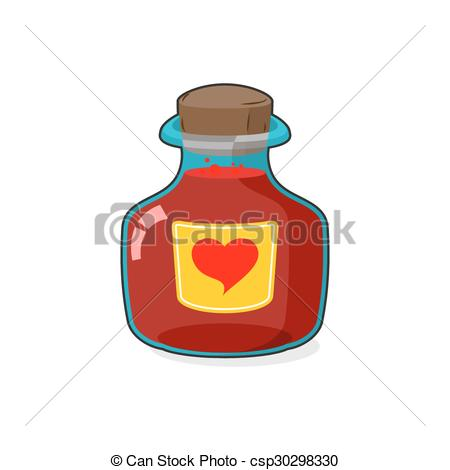 Vectors of Love potion Bottle. Glass vessel with wooden stopper.