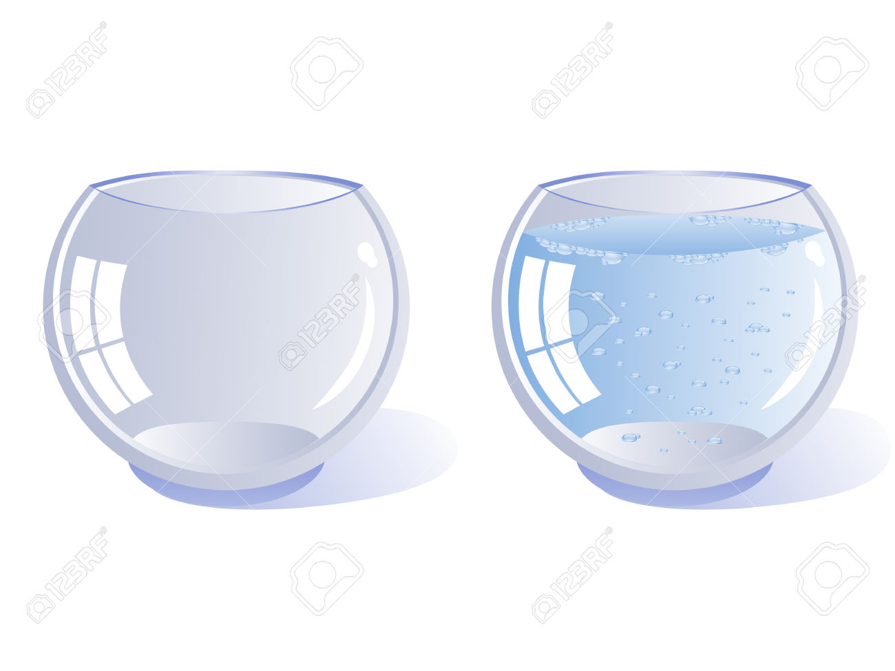 Two Transparent Glass Vessel Rounded. One Empty And One Filled.