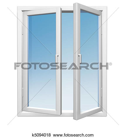 Stock Illustration of open window with blue glass k5094018.