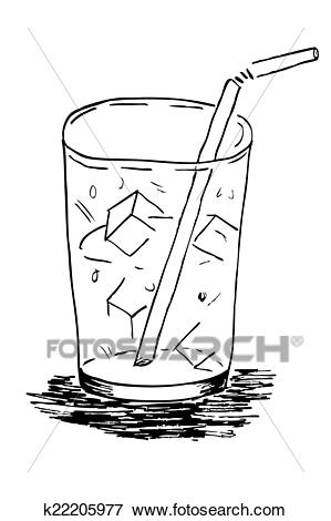 Doodle Glass with Ice Cube Clip Art.
