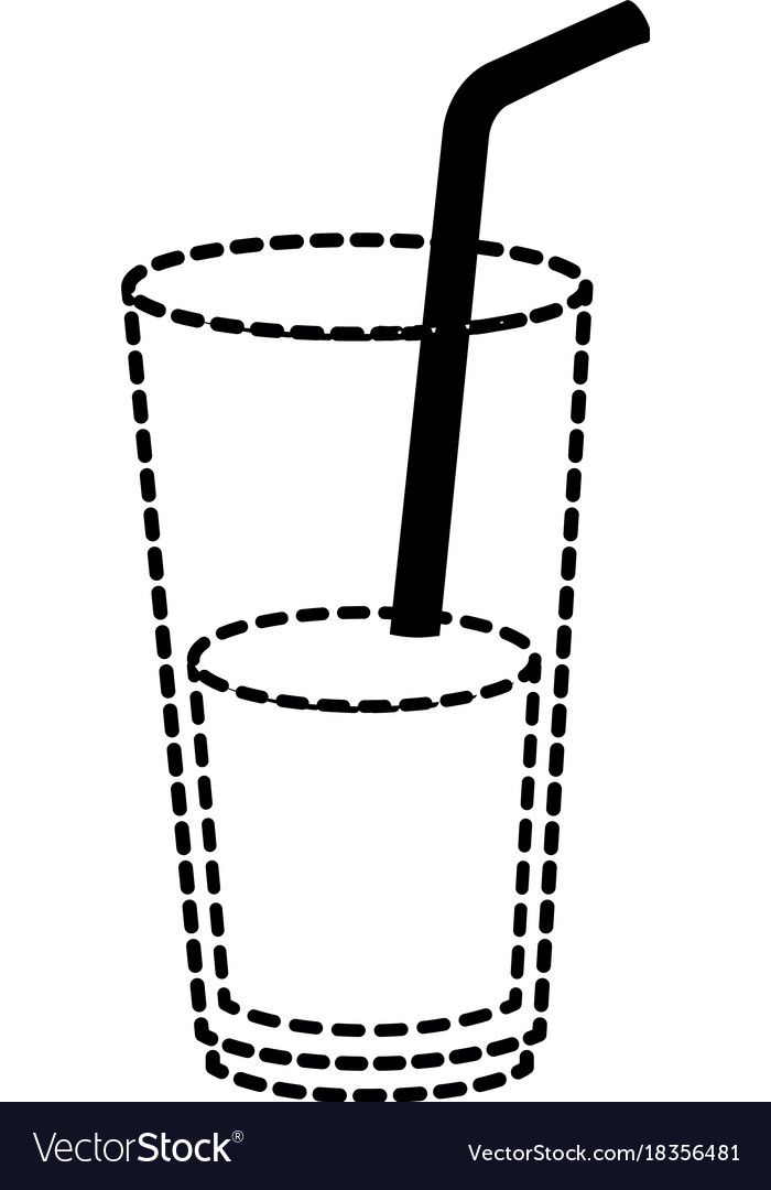 Juice in cup glass and straw.