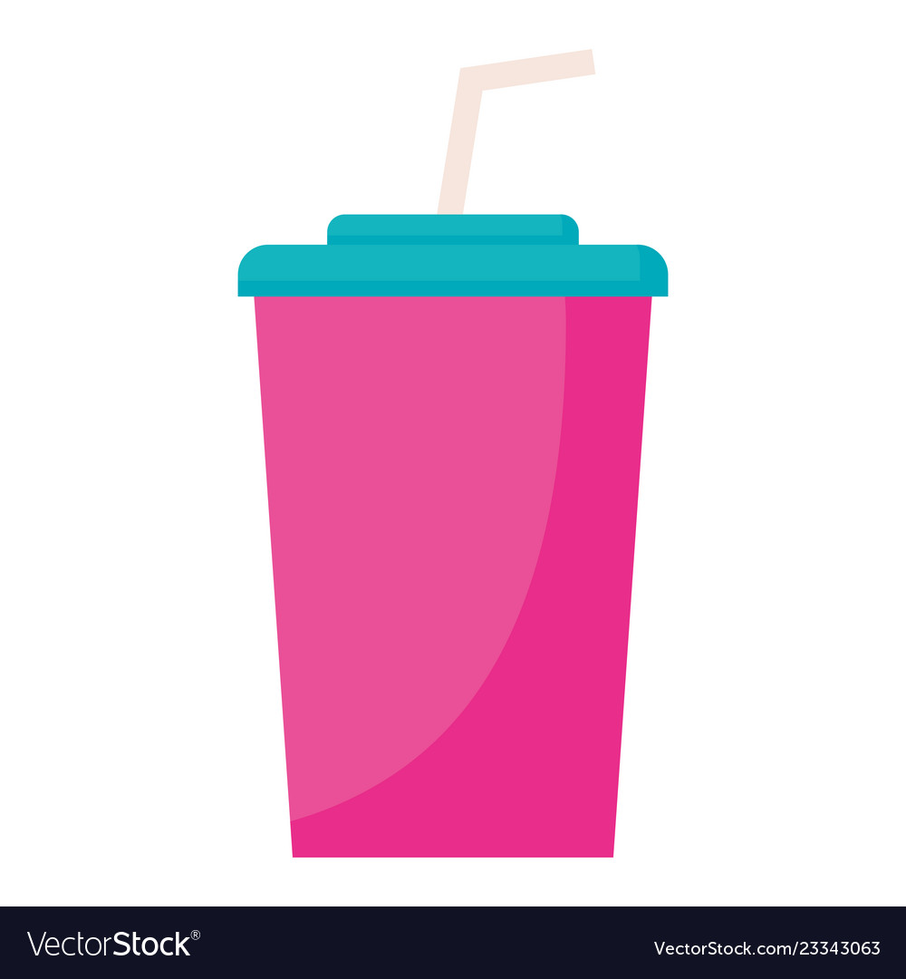 Plastic cup with straw.