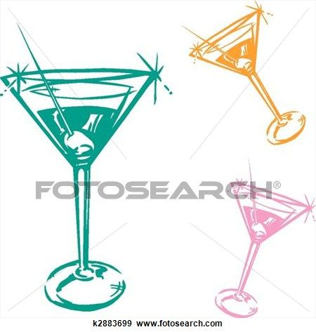 Cocktail Glass Illustration View Large Clip Art Graphic.