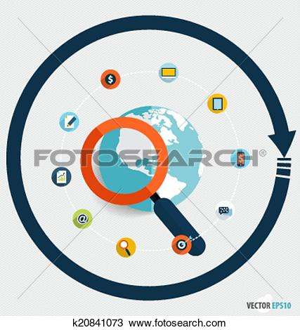Clipart of Magnifying glass and globe with application icons.