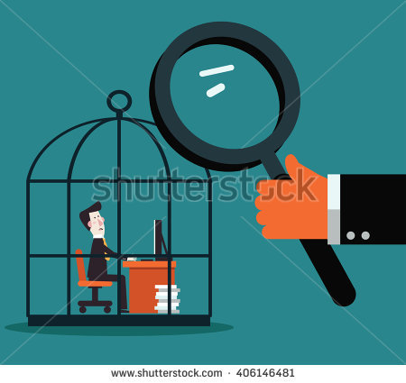 Boss Examining Employee With Magnifying Glass. Work Under Pressure.
