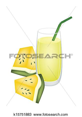 Clipart of Glass of Yellow Watermelon Juice and Watermelon Fruit.