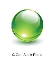 Vector Illustration of 3D glass ball on light background, vector.