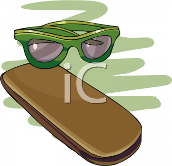 Royalty Free Clipart Image: Pair of Glasses and Case.