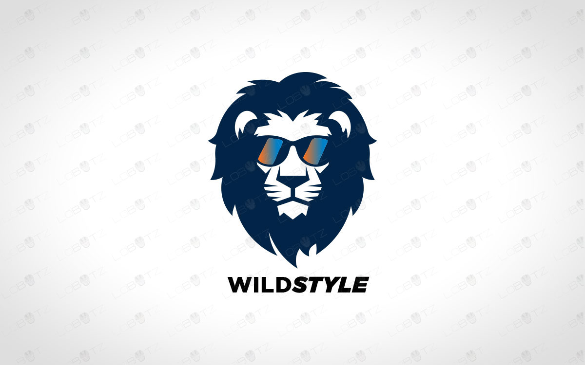 stylish lion logo for sale lion with glasses logo.