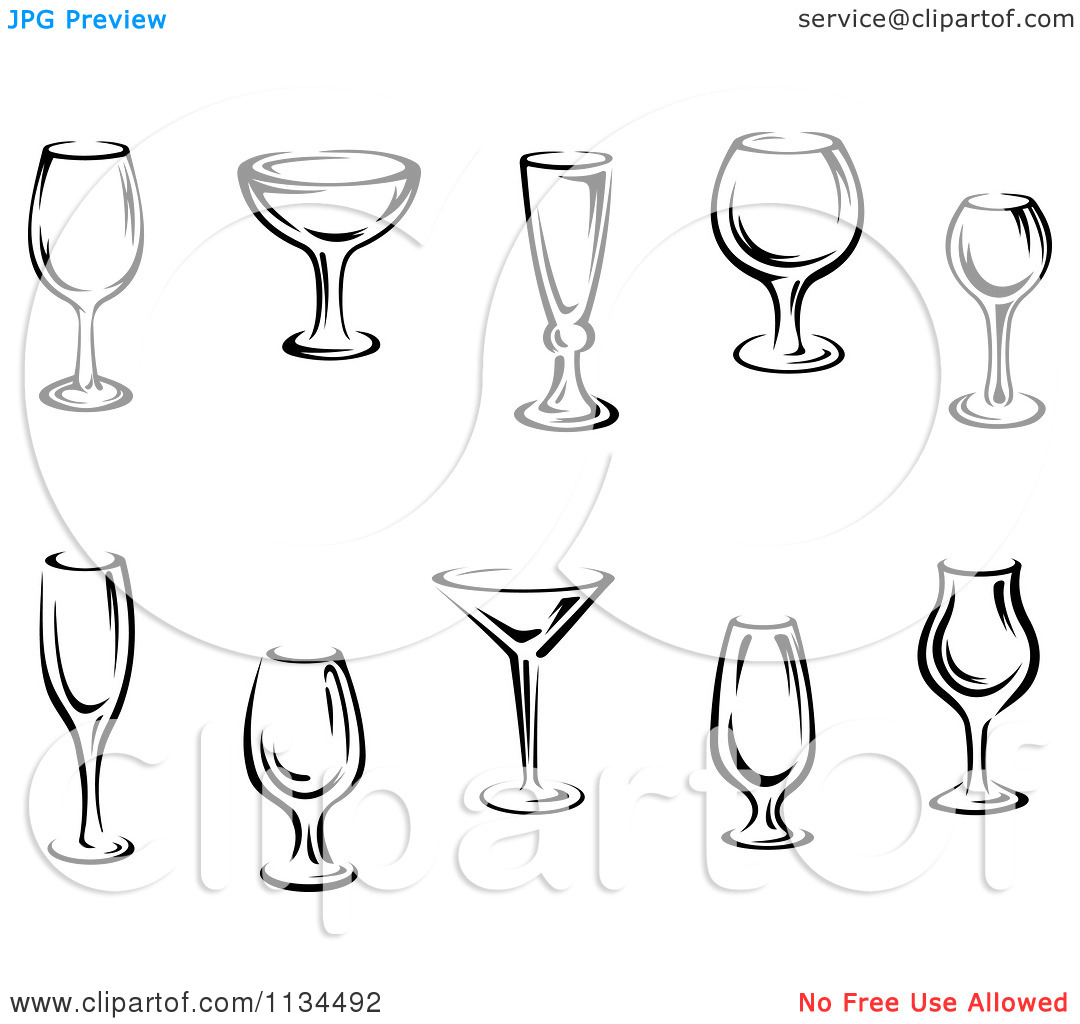 Clipart Of Black And White Cups And Glasses.