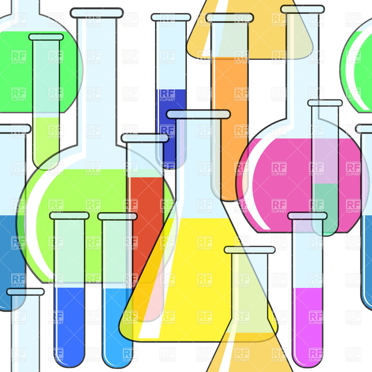 Seamless background with motley chemical glassware Vector Image.