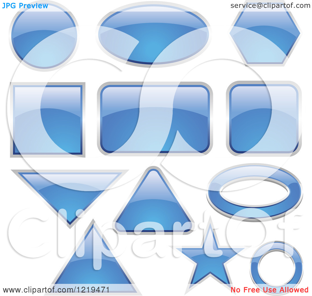Clipart of Reflective Blue Glassy Icons in Different Shapes.