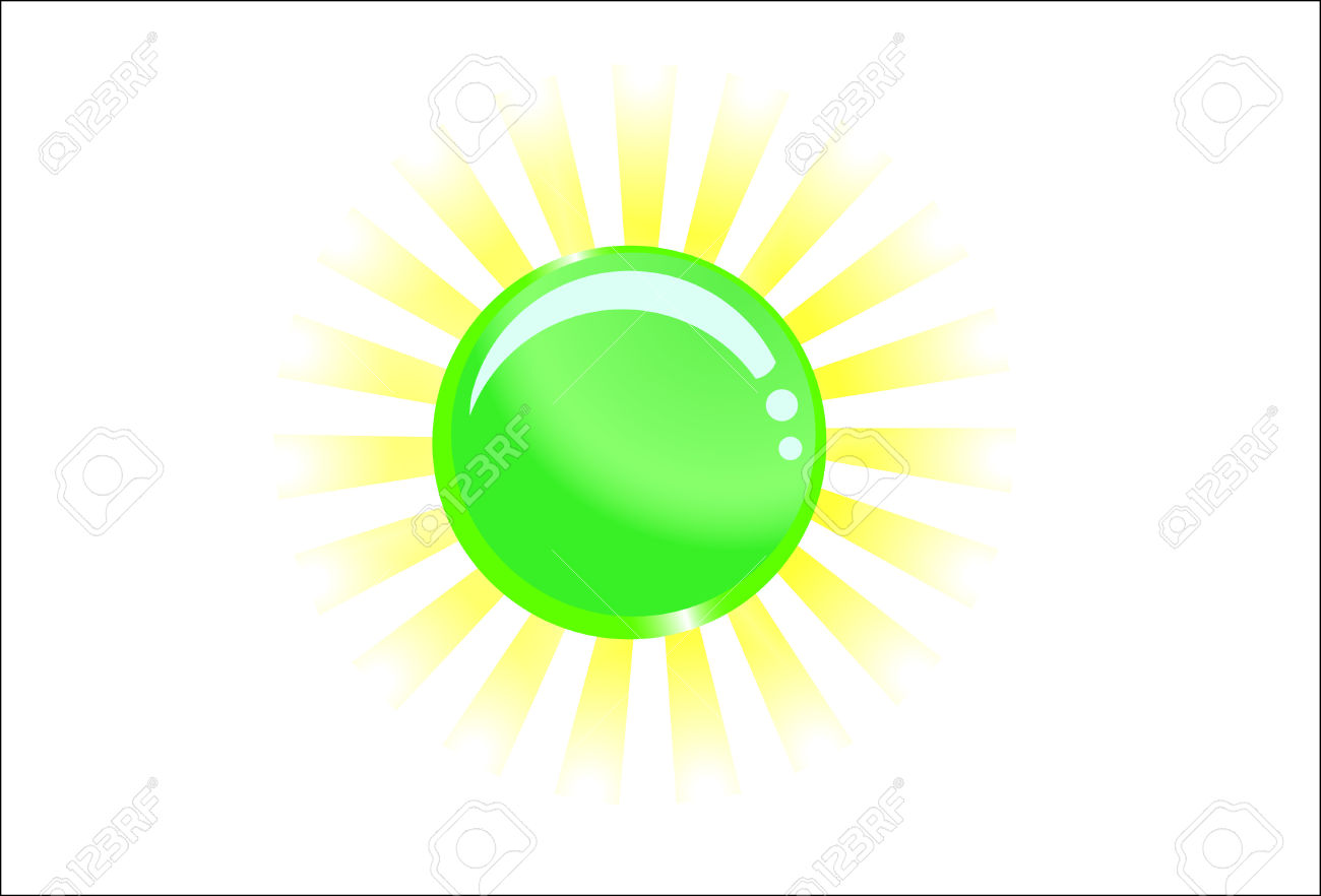 Green Glassy Ball With Light Behind; Clip.