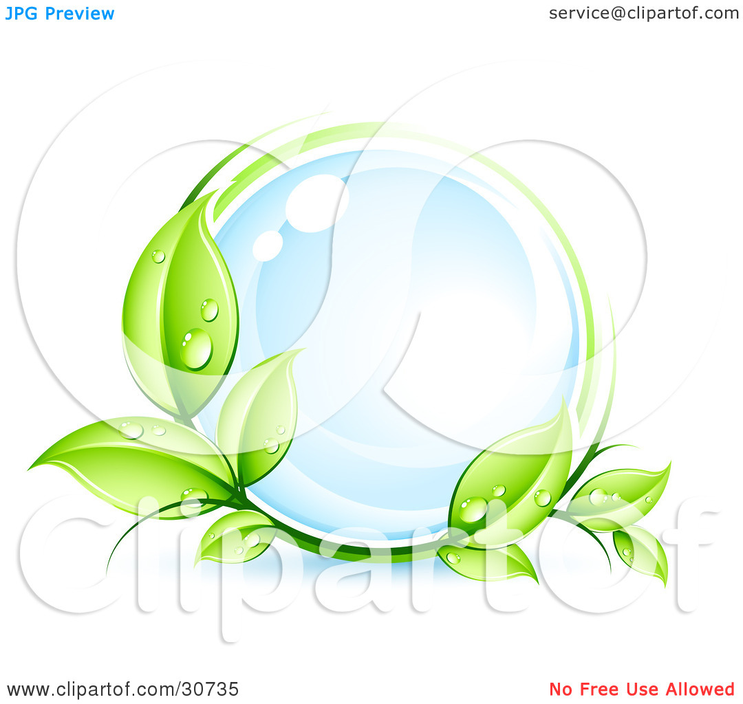 Clipart Illustration of a Green Organic Dewy Vine Circling A.