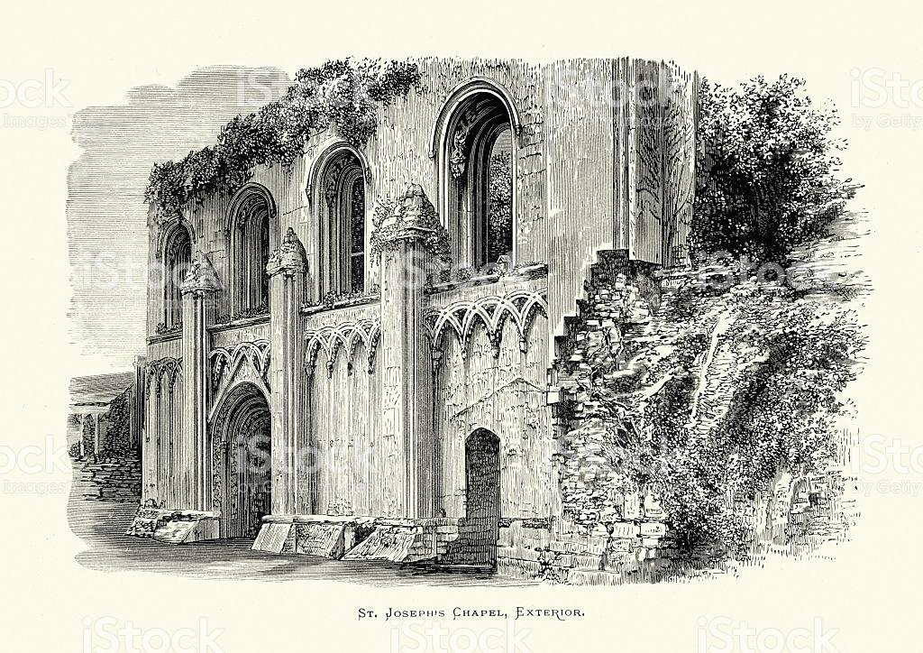 Glastonbury Abbey St Josephs Chapel stock vector art 473175838.