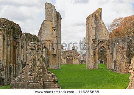 Glastonbury Abbey Stock Photos, Royalty.