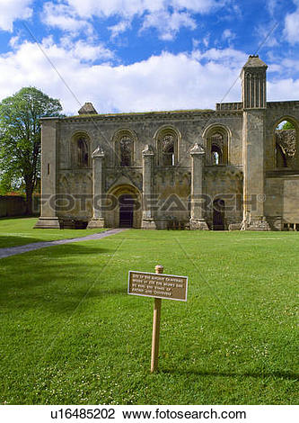 Stock Photo of England, Somerset, Glastonbury Abbey. The Lady.