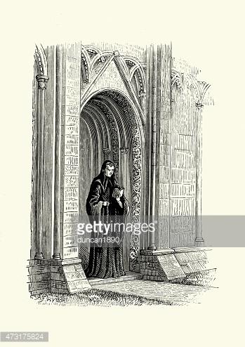 Benedictine Monk of Glastonbury Abbey premium clipart.