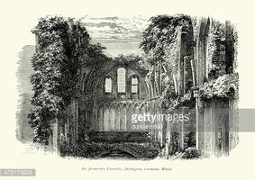 Glastonbury Abbey ST Joseph's Chapel stock vectors.