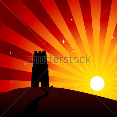 Glastonbury Slunce Krajina vektor z knihovny.