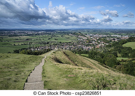 Stock Images of View from top of Glastonbury Tor overlooking.