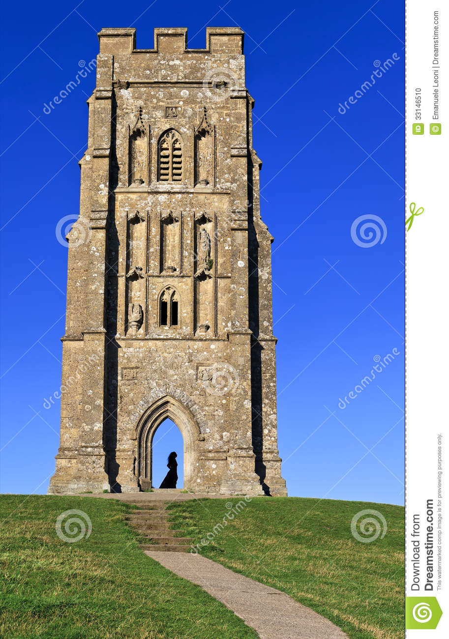 St Michael's Tower With Medieval Lady Silhouette At Glastonbury.